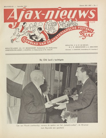 Clubnieuws Ajax (vanaf 1916) 1961-09-01