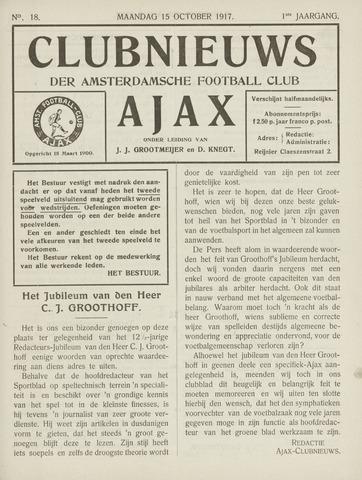 Clubnieuws Ajax (vanaf 1916) 1917-10-04