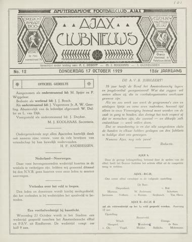 Clubnieuws Ajax (vanaf 1916) 1929-11-01