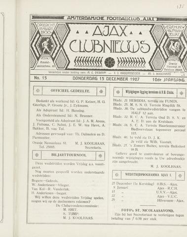 Clubnieuws Ajax (vanaf 1916) 1927-12-15
