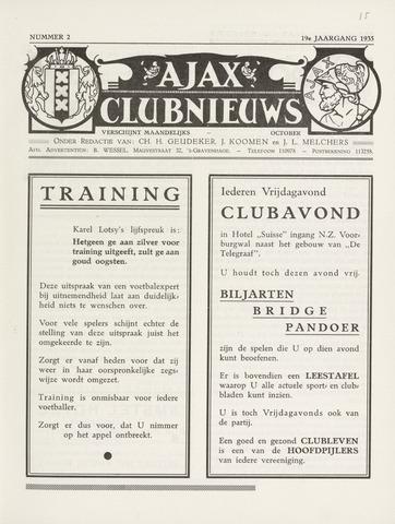 Clubnieuws Ajax (vanaf 1916) 1935-10-01