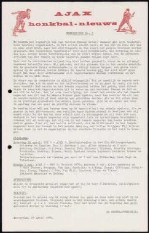 Honkbal nieuws (1963-1972) 1966-04-25
