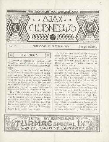 Clubnieuws Ajax (vanaf 1916) 1924-10-15