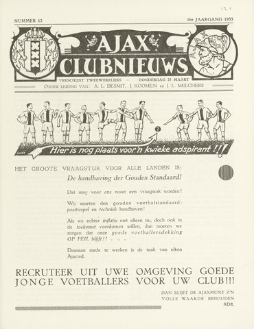 Clubnieuws Ajax (vanaf 1916) 1933-03-23