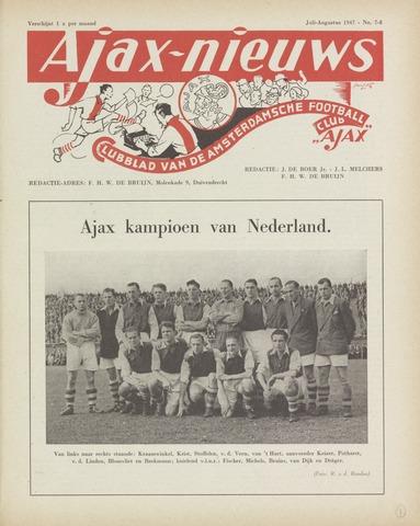 Clubnieuws Ajax (vanaf 1916) 1947-07-01