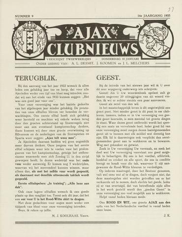 Clubnieuws Ajax (vanaf 1916) 1933-01-12