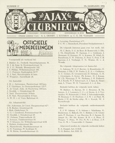 Clubnieuws Ajax (vanaf 1916) 1933-06-28