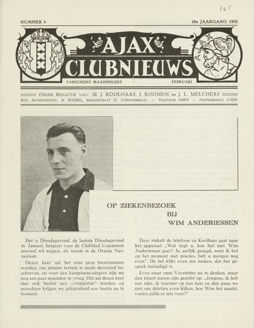 Clubnieuws Ajax (vanaf 1916) 1935-02-01
