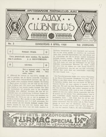 Clubnieuws Ajax (vanaf 1916) 1926-04-08