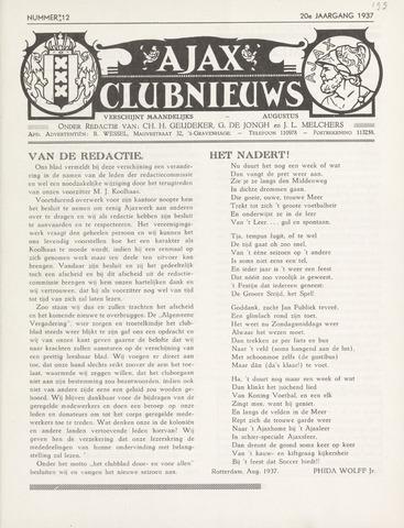 Clubnieuws Ajax (vanaf 1916) 1937-08-01