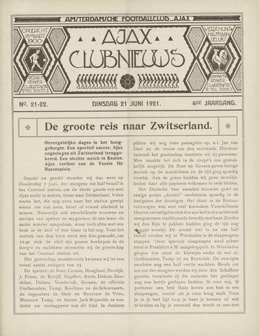 Clubnieuws Ajax (vanaf 1916) 1921-06-21