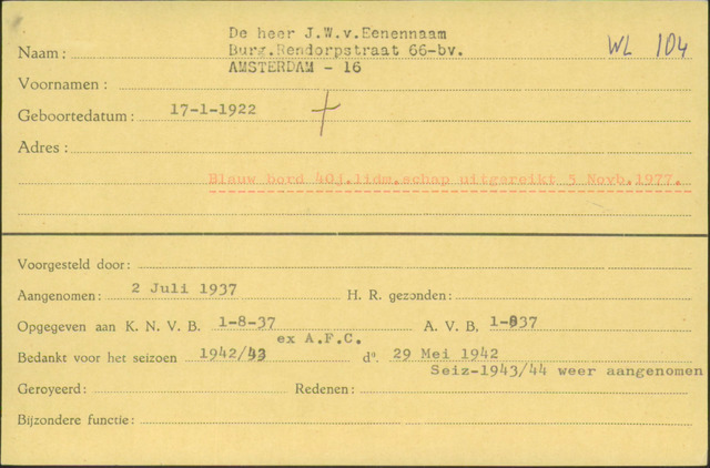 Ledenkaarten (1911-1989) 1937