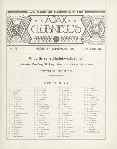 Clubnieuws Ajax (vanaf 1916) 1924-09-01