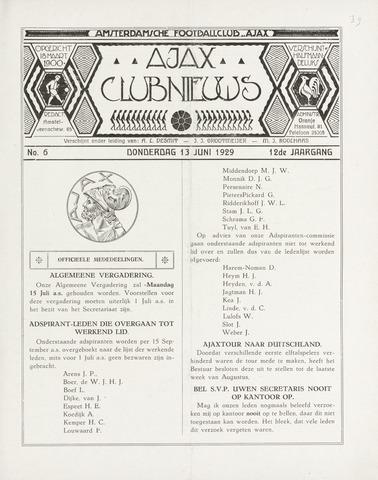 Clubnieuws Ajax (vanaf 1916) 1929-06-13
