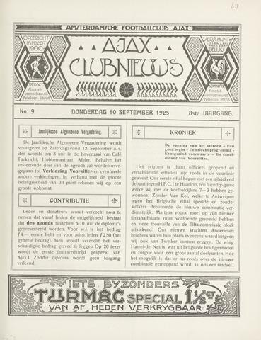 Clubnieuws Ajax (vanaf 1916) 1925-09-10