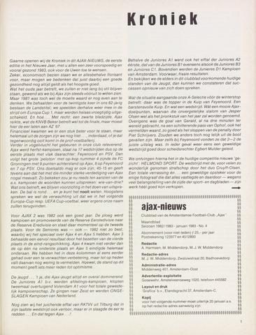 Clubnieuws Ajax (vanaf 1916) 1983-01-01