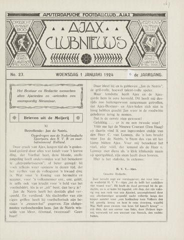 Clubnieuws Ajax (vanaf 1916) 1924-01-01