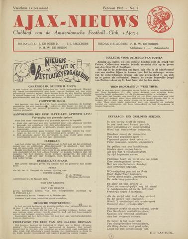 Clubnieuws Ajax (vanaf 1916) 1946-02-01