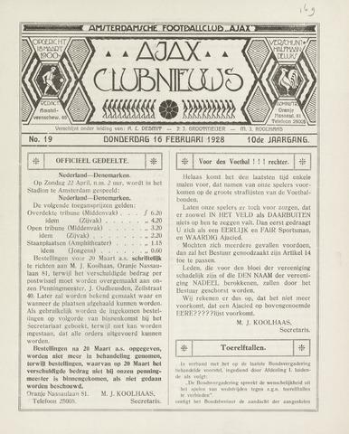 Clubnieuws Ajax (vanaf 1916) 1928-02-16