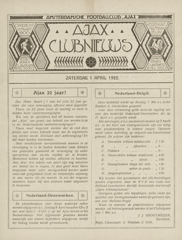 Clubnieuws Ajax (vanaf 1916) 1922-04-01
