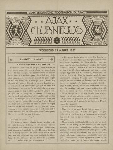 Clubnieuws Ajax (vanaf 1916) 1922-03-15