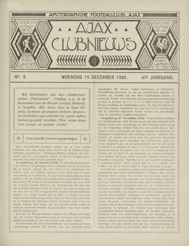 Clubnieuws Ajax (vanaf 1916) 1920-12-15