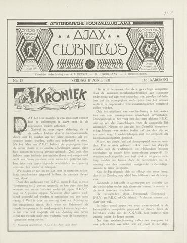 Clubnieuws Ajax (vanaf 1916) 1931-04-17