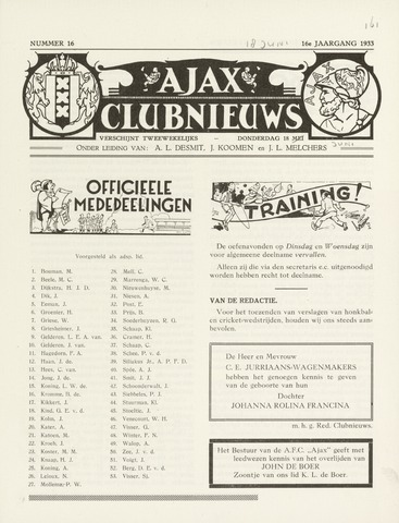 Clubnieuws Ajax (vanaf 1916) 1933-06-18