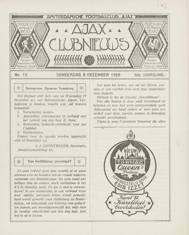 Clubnieuws Ajax (vanaf 1916) 1926-12-08
