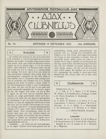 Clubnieuws Ajax (vanaf 1916) 1923-09-15