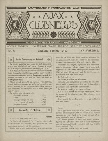 Clubnieuws Ajax (vanaf 1916) 1919-04-01