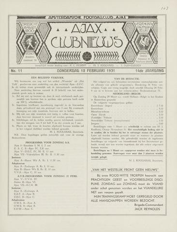 Clubnieuws Ajax (vanaf 1916) 1931-02-12