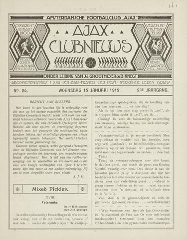 Clubnieuws Ajax (vanaf 1916) 1919-01-15