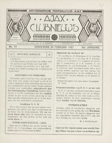 Clubnieuws Ajax (vanaf 1916) 1927-02-24