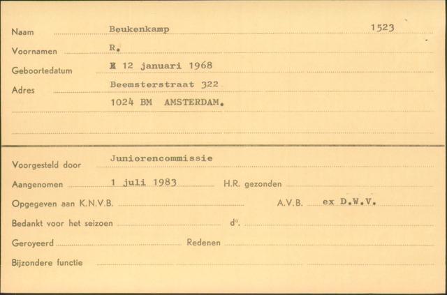 Ledenkaarten (1911-1989) 1983