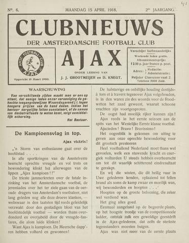 Clubnieuws Ajax (vanaf 1916) 1918-04-15