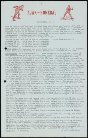 Honkbal nieuws (1963-1972) 1964-11-06