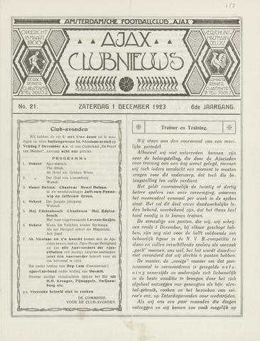 Clubnieuws Ajax (vanaf 1916) 1923-12-01