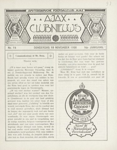 Clubnieuws Ajax (vanaf 1916) 1926-11-18