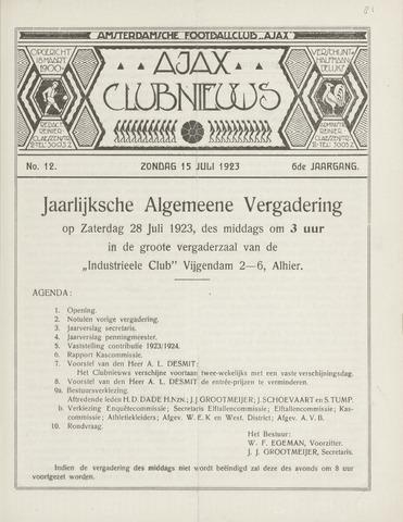 Clubnieuws Ajax (vanaf 1916) 1923-07-15