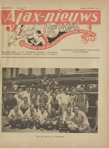 Clubnieuws Ajax (vanaf 1916) 1952-08-01