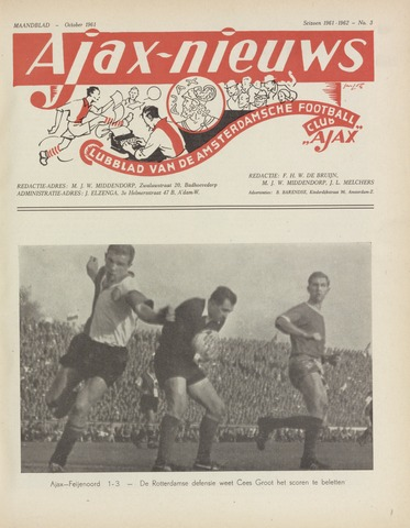 Clubnieuws Ajax (vanaf 1916) 1961-10-01