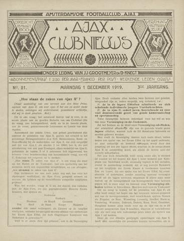 Clubnieuws Ajax (vanaf 1916) 1919-12-01