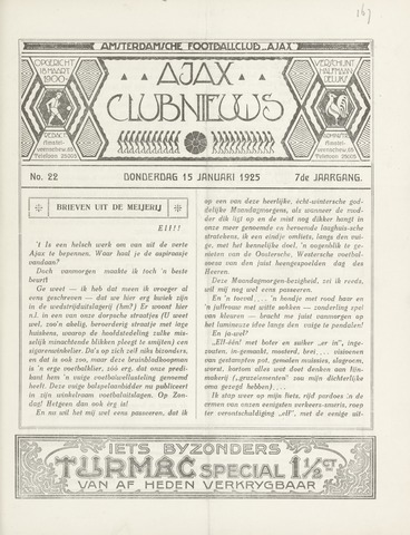 Clubnieuws Ajax (vanaf 1916) 1925-01-15
