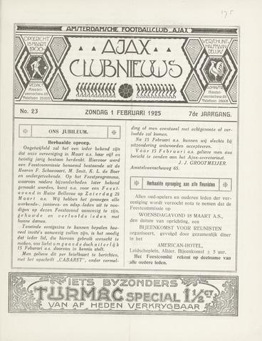 Clubnieuws Ajax (vanaf 1916) 1925-02-01