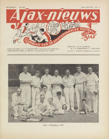 Clubnieuws Ajax (vanaf 1916) 1961-07-01