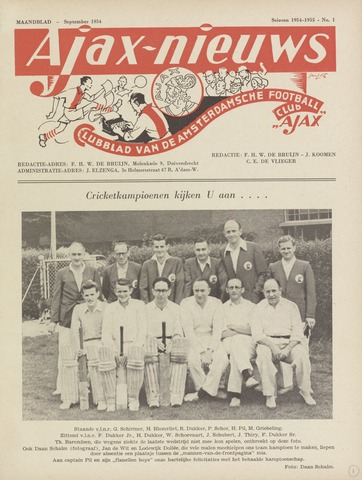 Clubnieuws Ajax (vanaf 1916) 1954-09-01
