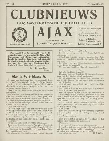 Clubnieuws Ajax (vanaf 1916) 1917-07-31