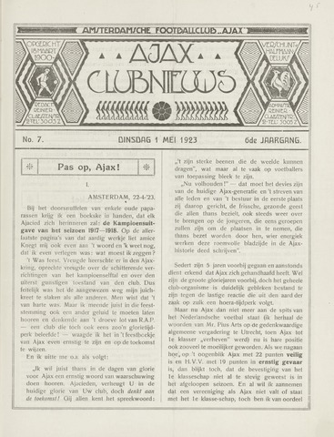 Clubnieuws Ajax (vanaf 1916) 1923-05-01