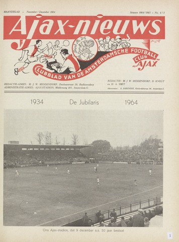 Clubnieuws Ajax (vanaf 1916) 1964-11-01
